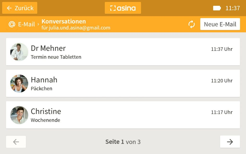 Screenshot der asina E-Mail-App