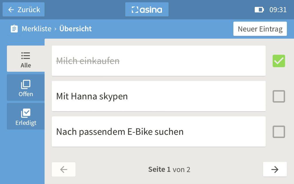 Screenshot der asina Merkliste-App