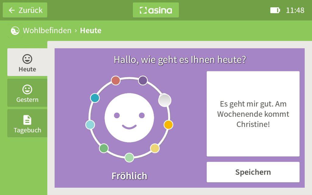 Screenshot asina Wohlbefinden-App